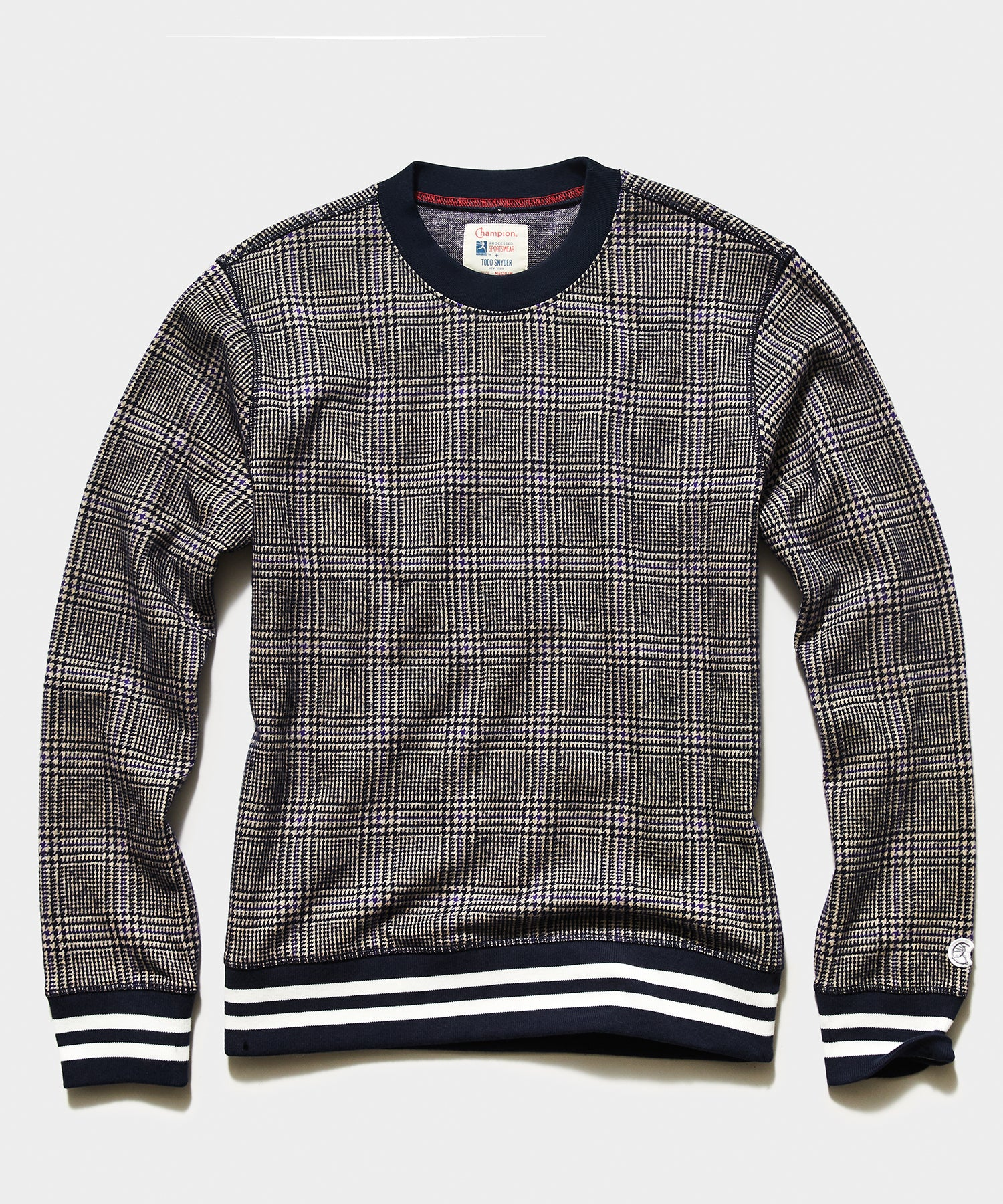 Champion Wool Glen plaid Crewneck Sweatshirt in Navy
