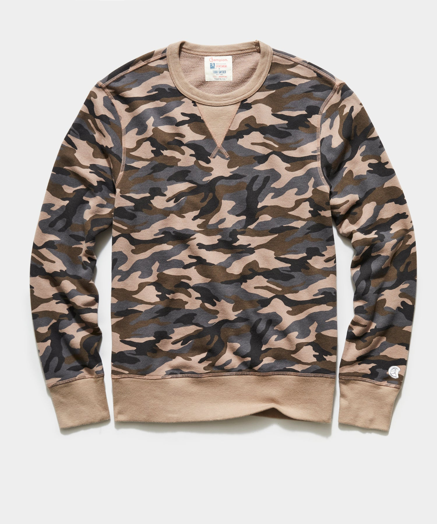 Camo Crewneck Sweatshirt in Tan