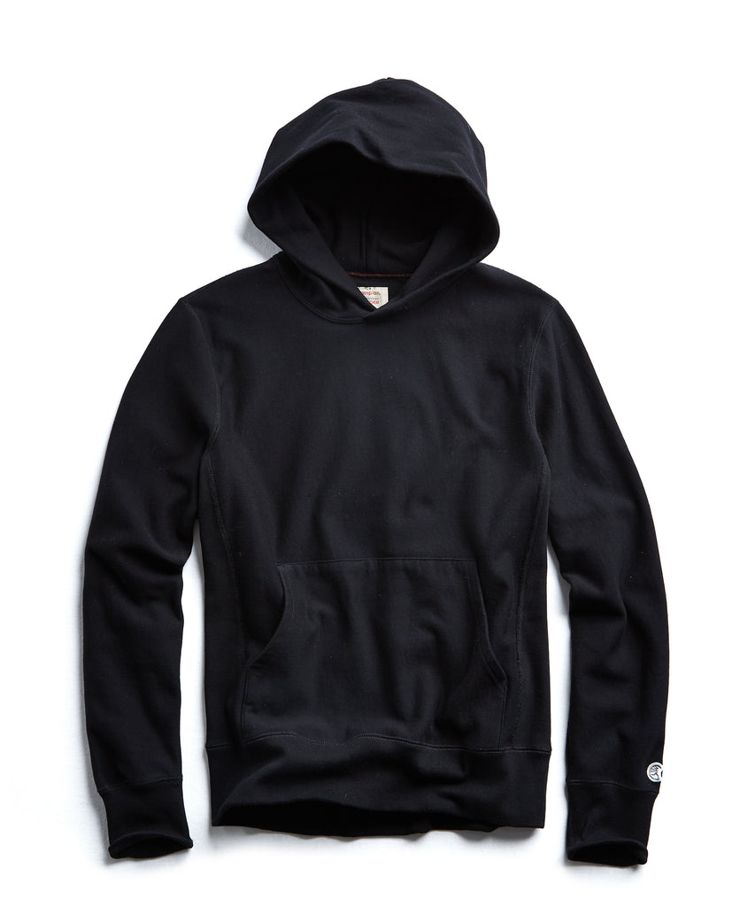 Terry Popover Hoodie Sweatshirt in Black