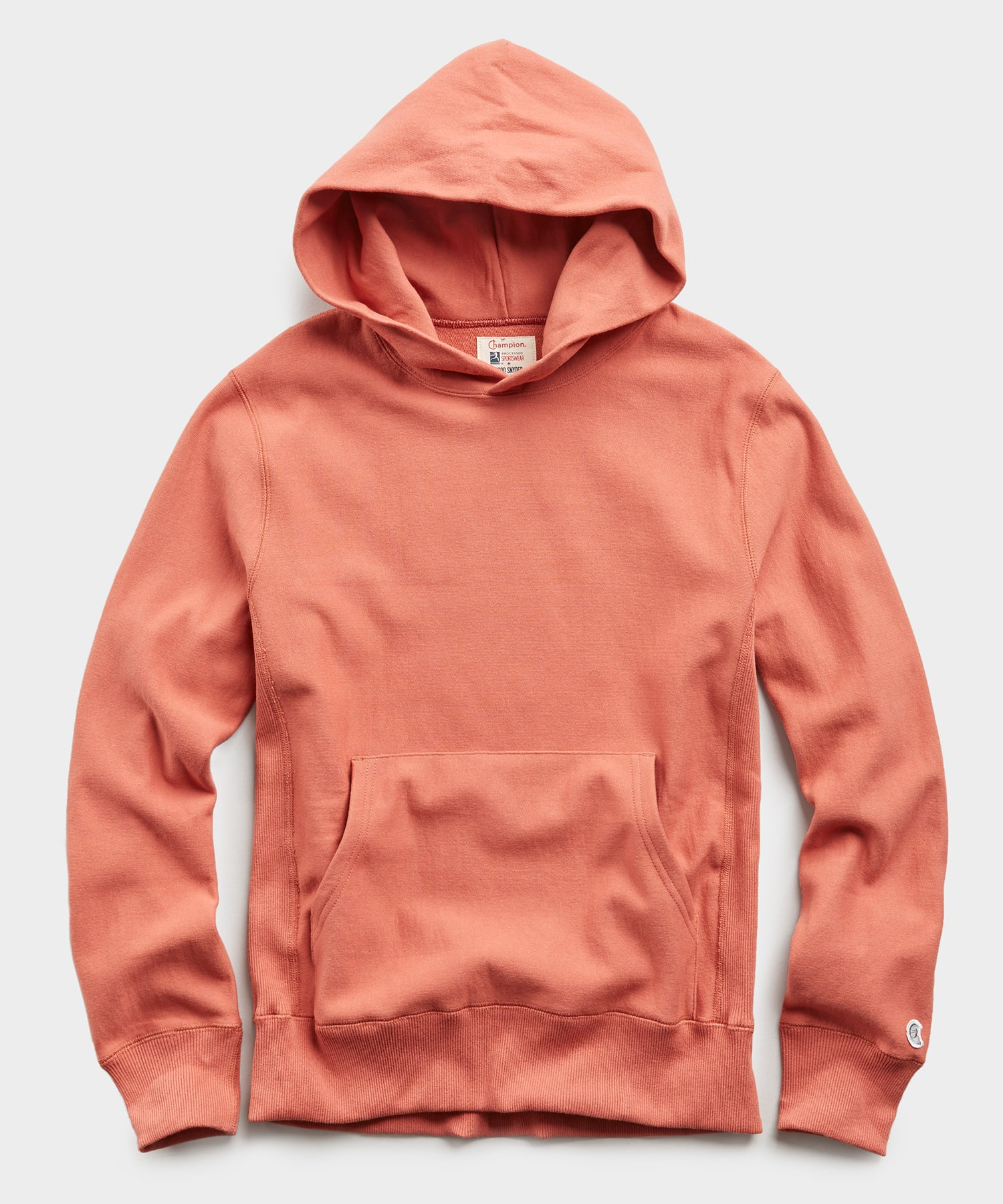 Terry Popover Hoodie Sweatshirt in Orange Russet