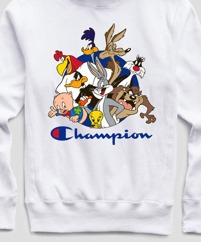 Champion + Looney Tunes All Tunes Hoodie in White