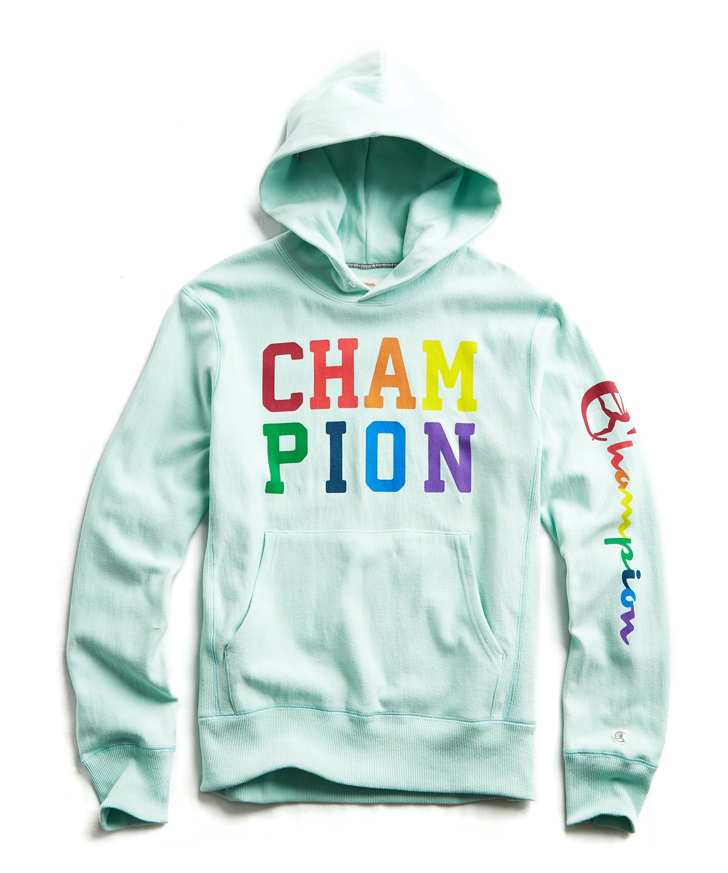 Champion Pride Stacked Logo Popover Hoodie in Minty Green