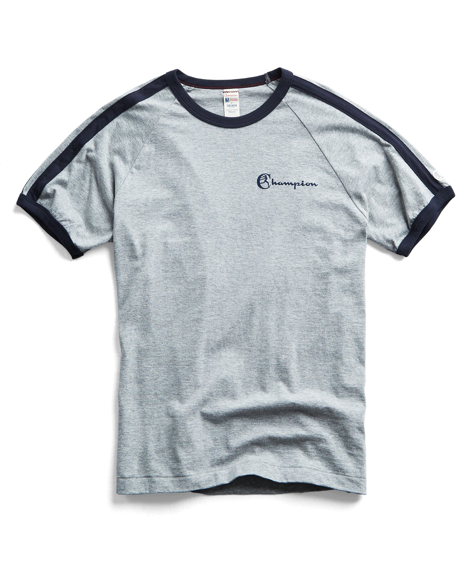 Double Stripe Tee in Grey/Navy