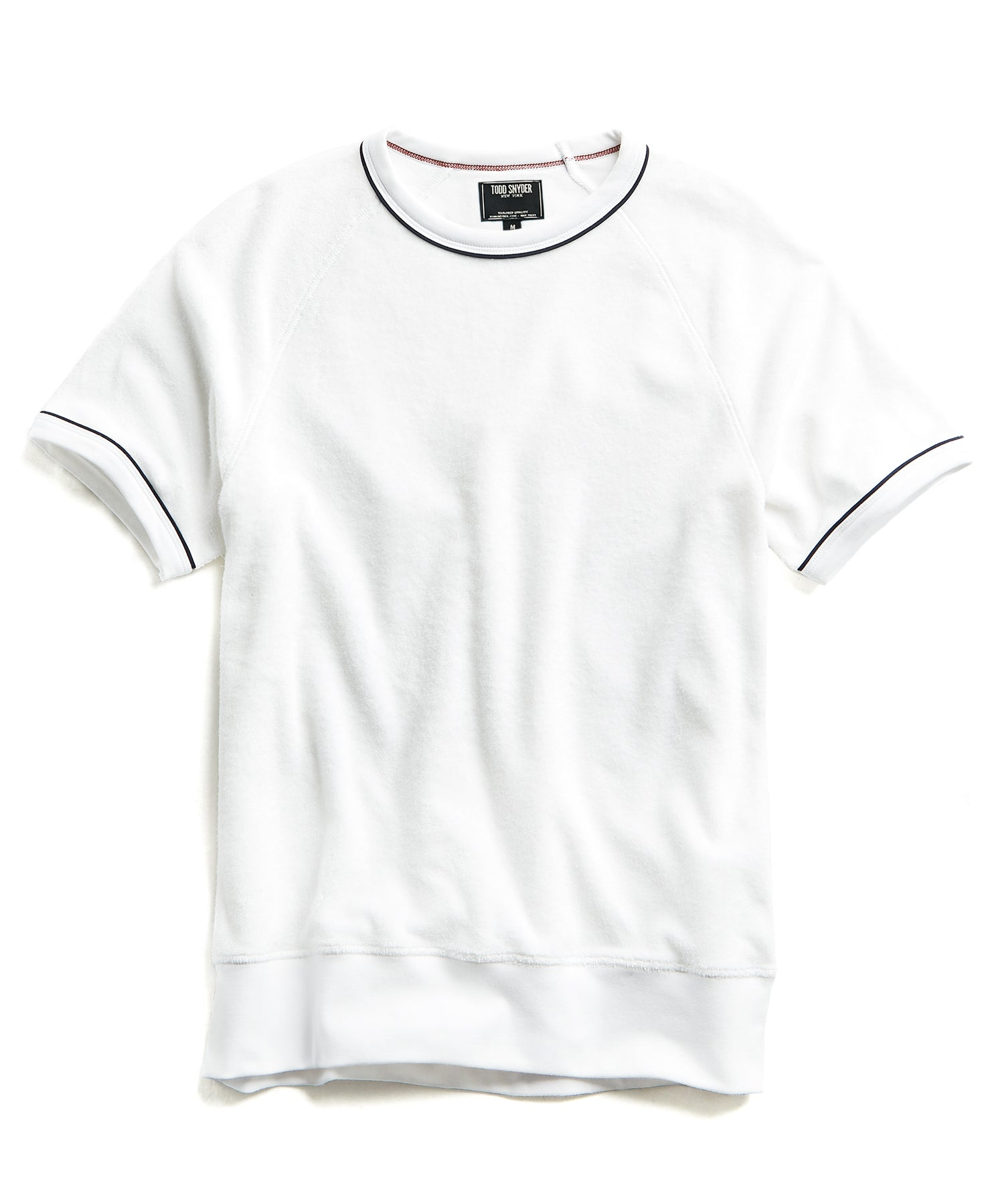 Piped Terry Cloth Short Sleeve Sweatshirt in White