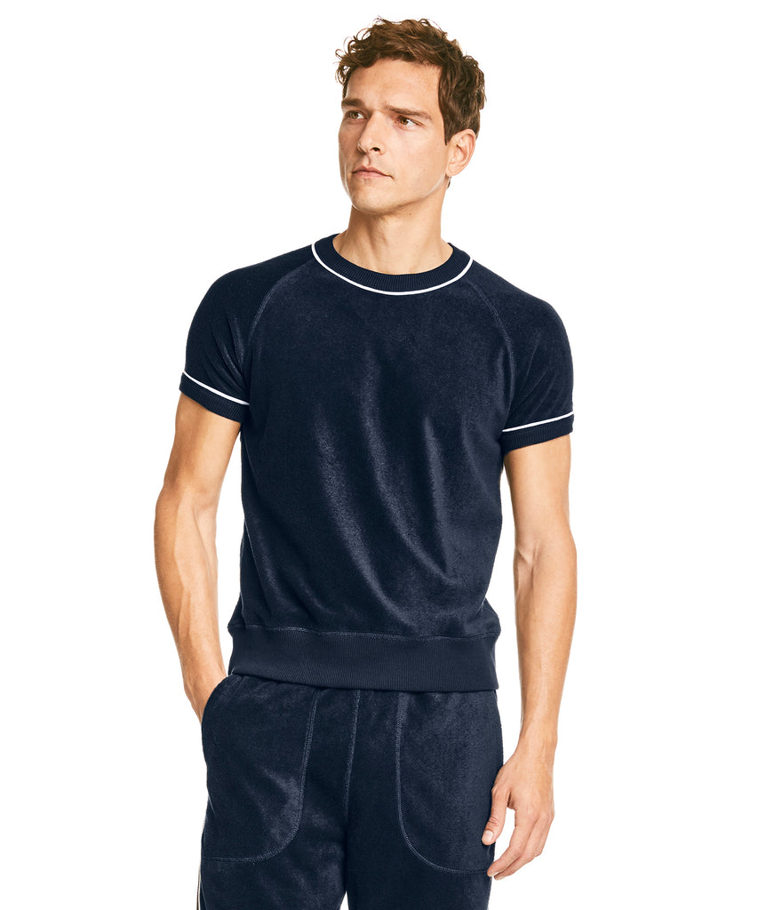 Piped Terry Cloth Short Sleeve Sweatshirt in Navy