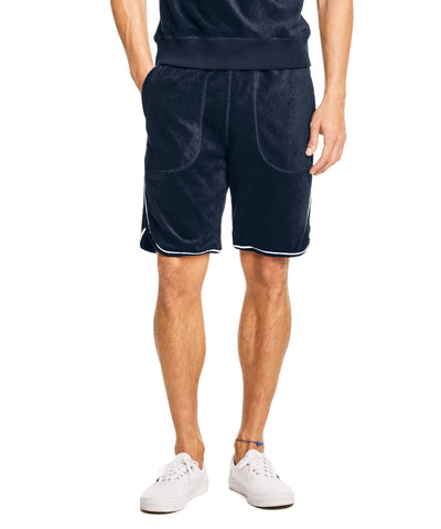 Piped Terry Basketball Short in Navy