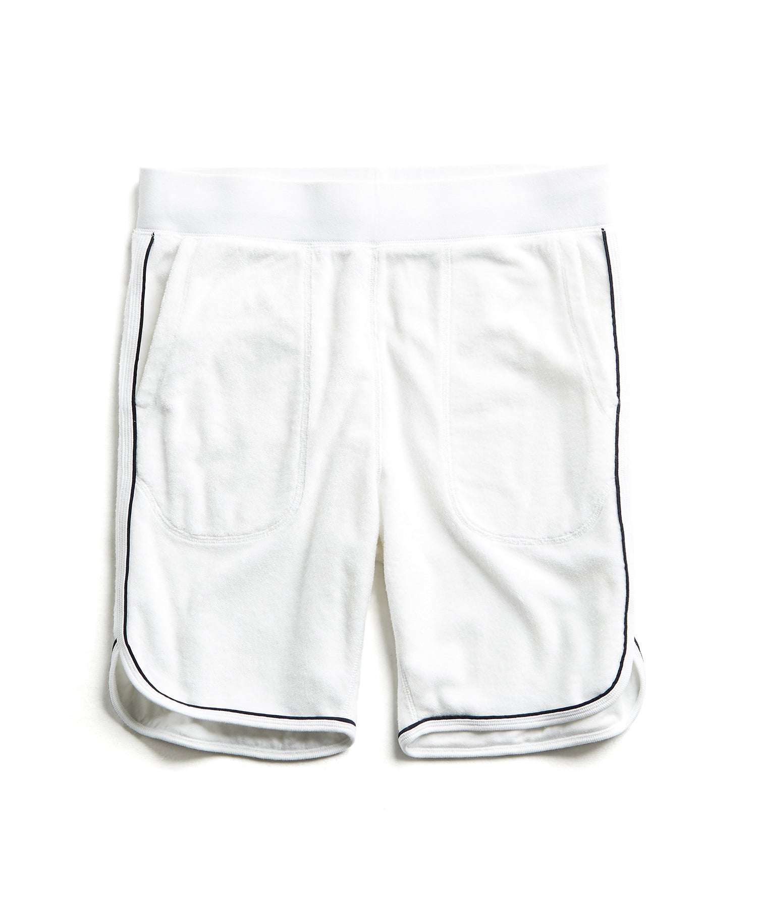 Piped Terry Basketball Short in White