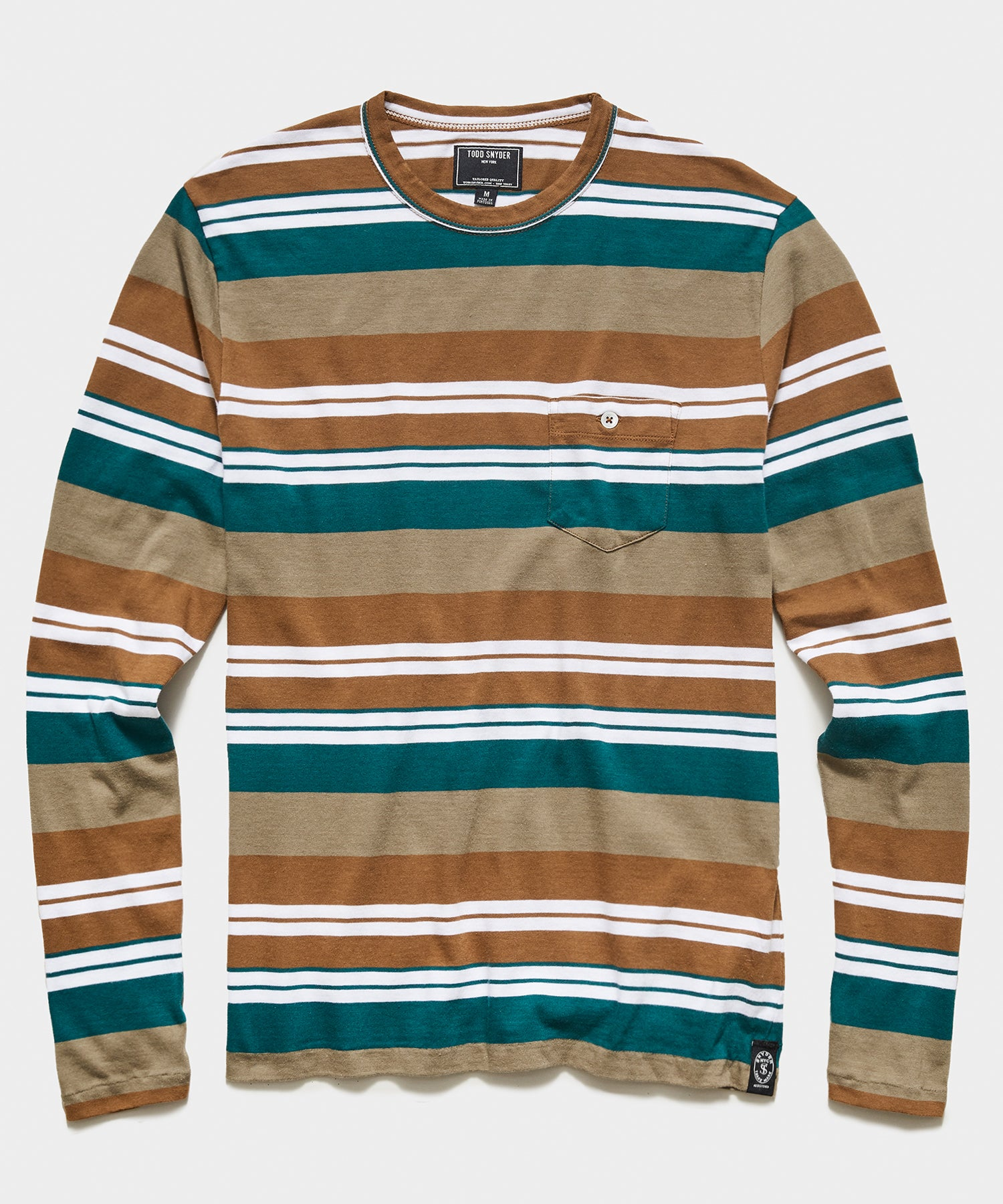 Long Sleeve Grant Stripe Pocket Tee in Crisp Khaki
