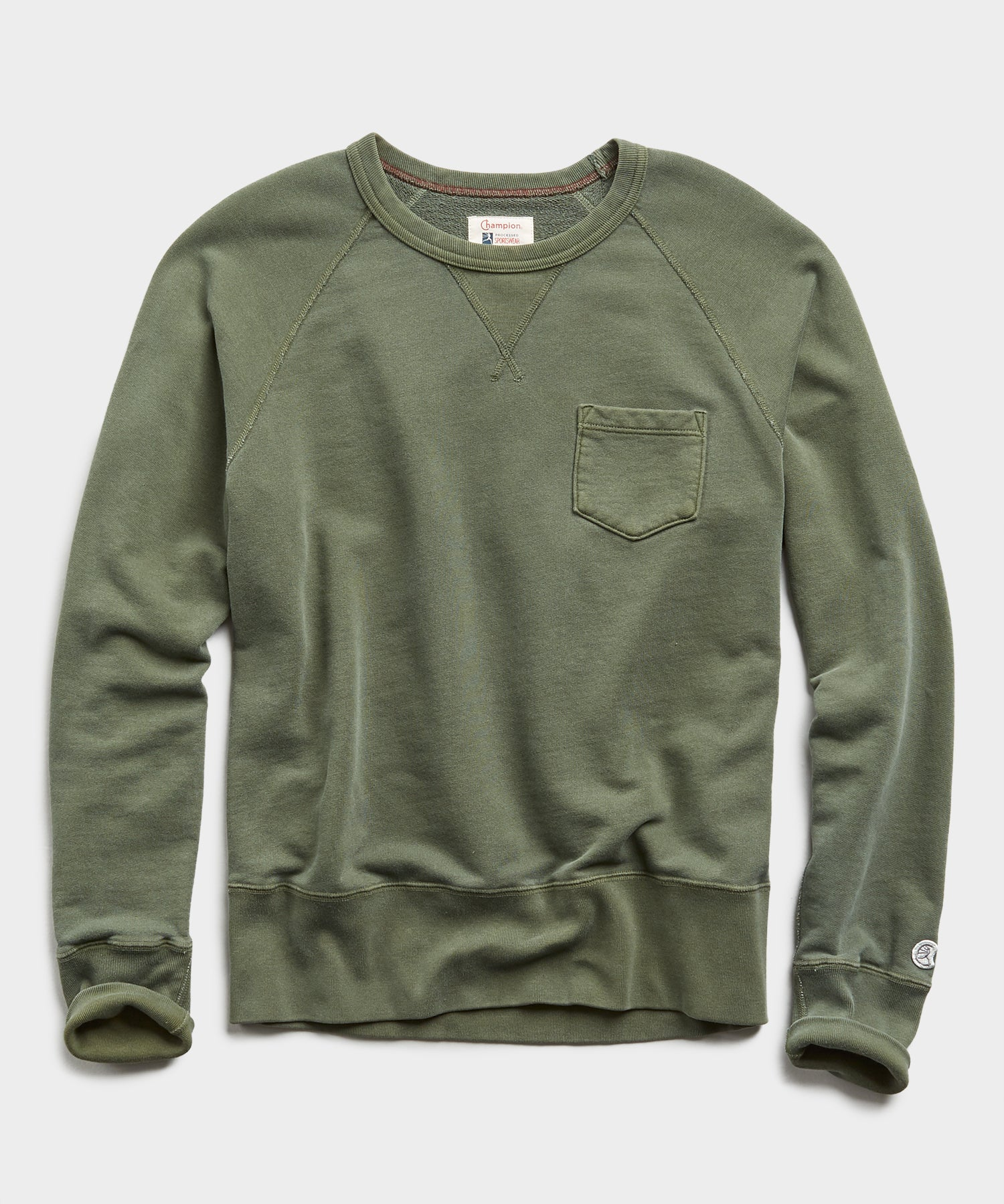 Lightweight Pocket Sweatshirt in Washed Olive