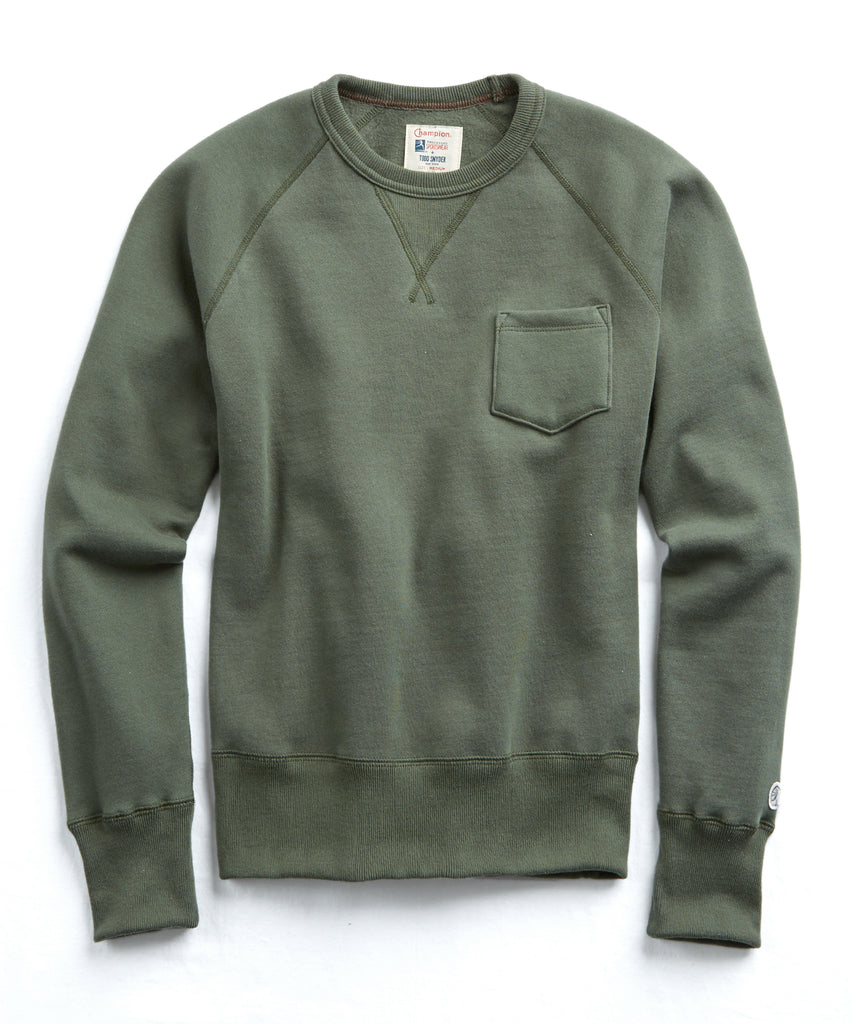 49c80796 Shoptagr   Classic Pocket Sweatshirt In Washed Olive by Todd Snyder