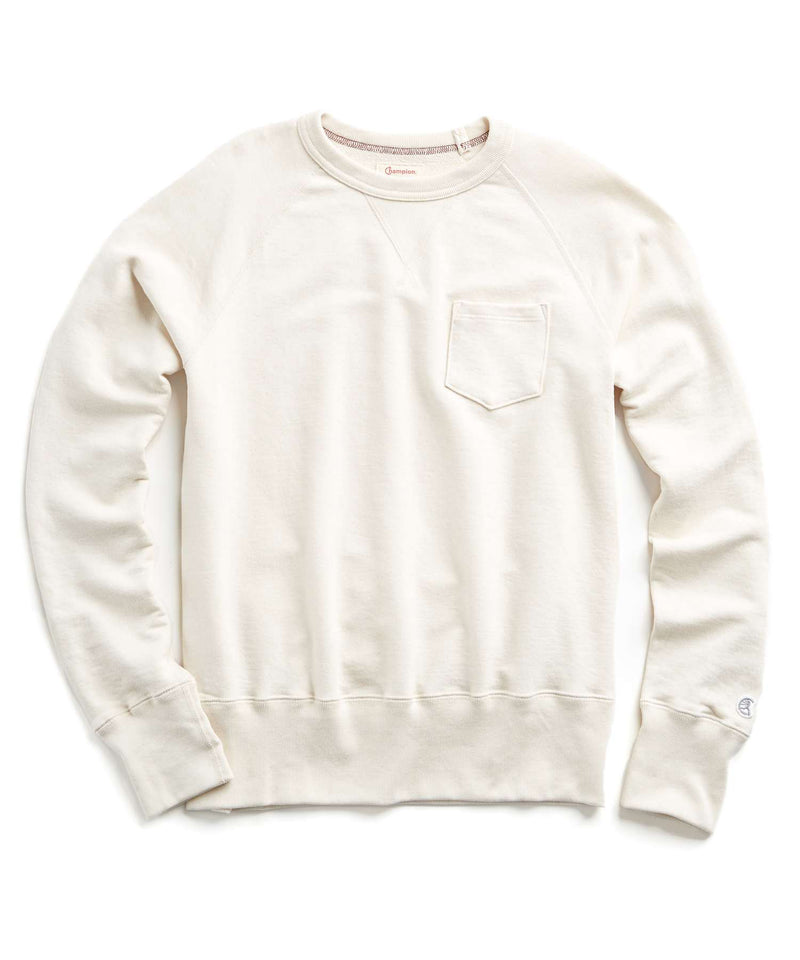 Fleece Garment Dyed Pocket Sweatshirt in Vintage White