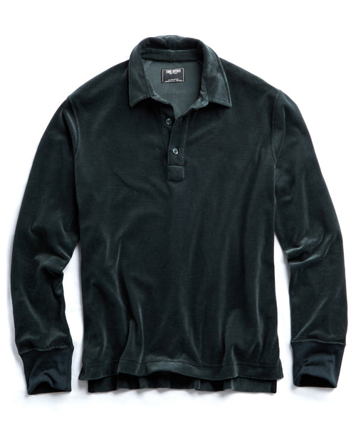 Velour Long Sleeve Polo in Green