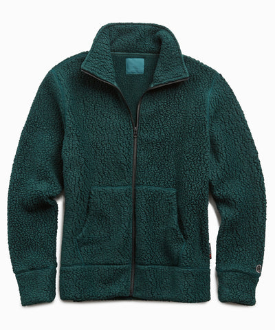 Full Zip Polartec Jacket in Bottle Green