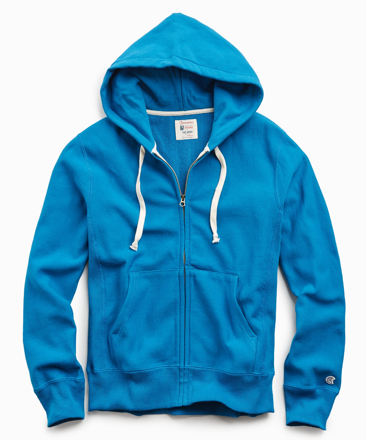 Terry Full Zip Hoodie in Slate Teal