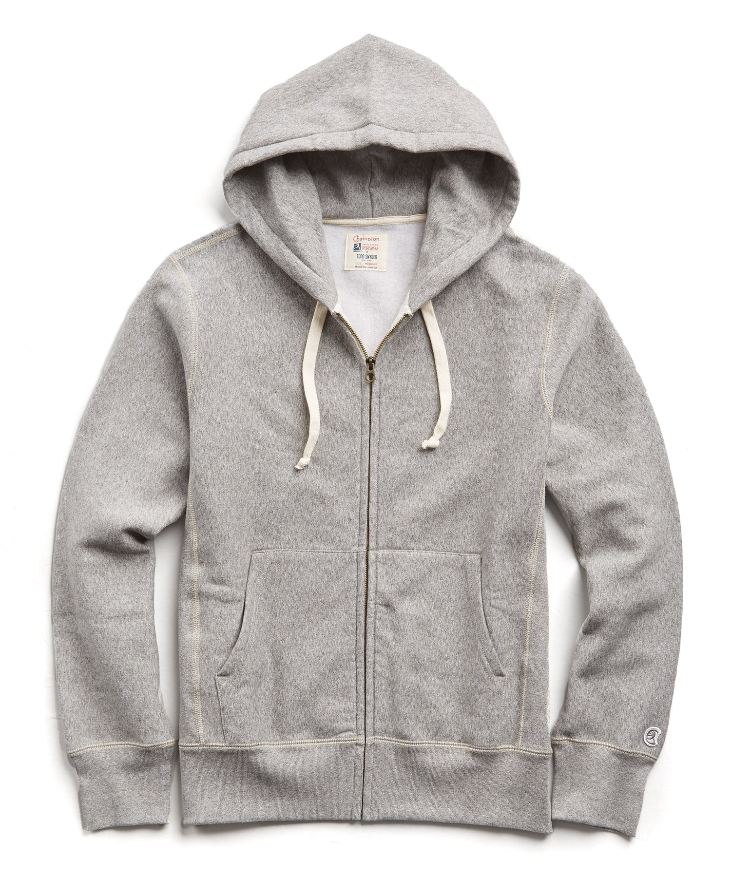Heavyweight Full Zip Hoodie in Light Grey Mix