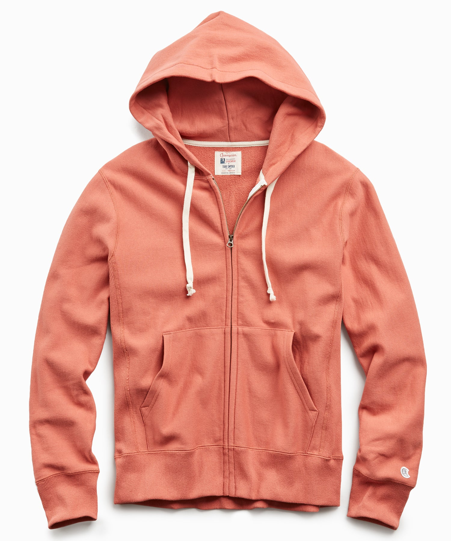 Terry Full Zip Hoodie in Orange Russet