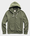 Lightweight Full Zip Hoodie in Washed Olive