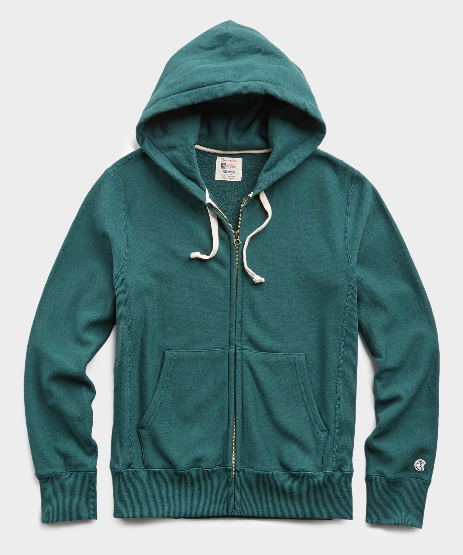 Terry Full Zip Hoodie in Storm Green