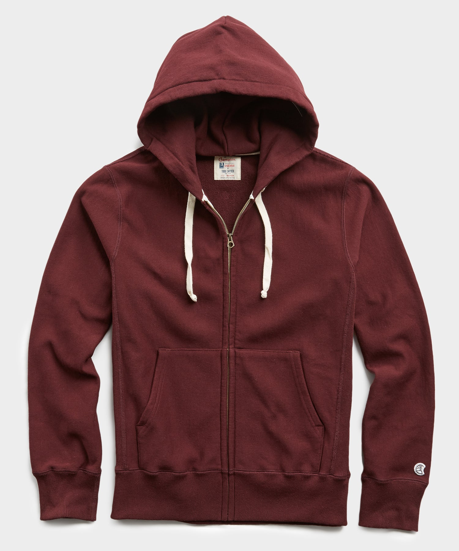 Terry Full Zip Hoodie in Deep Burgundy