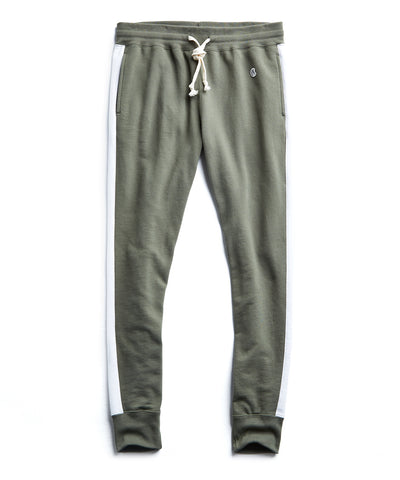 Slim Jogger Sweatpant with Side Stripes in Olive Grove