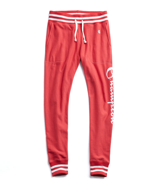 Champion Graphic Slim Tipped Jogger Sweatpant in Red