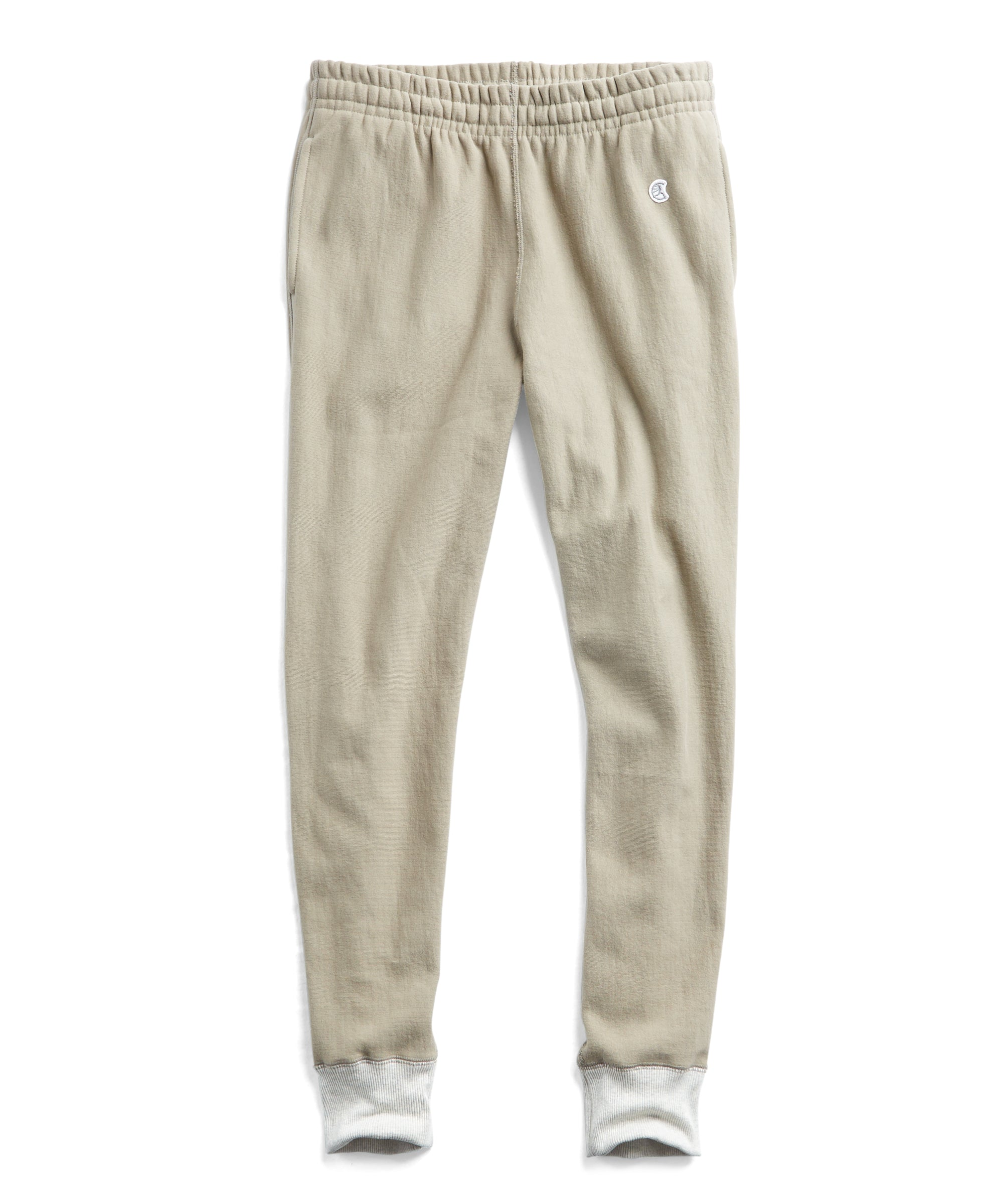 Reverse Weave Slim Sweatpant With Rib Contrast in Dark Driftwood
