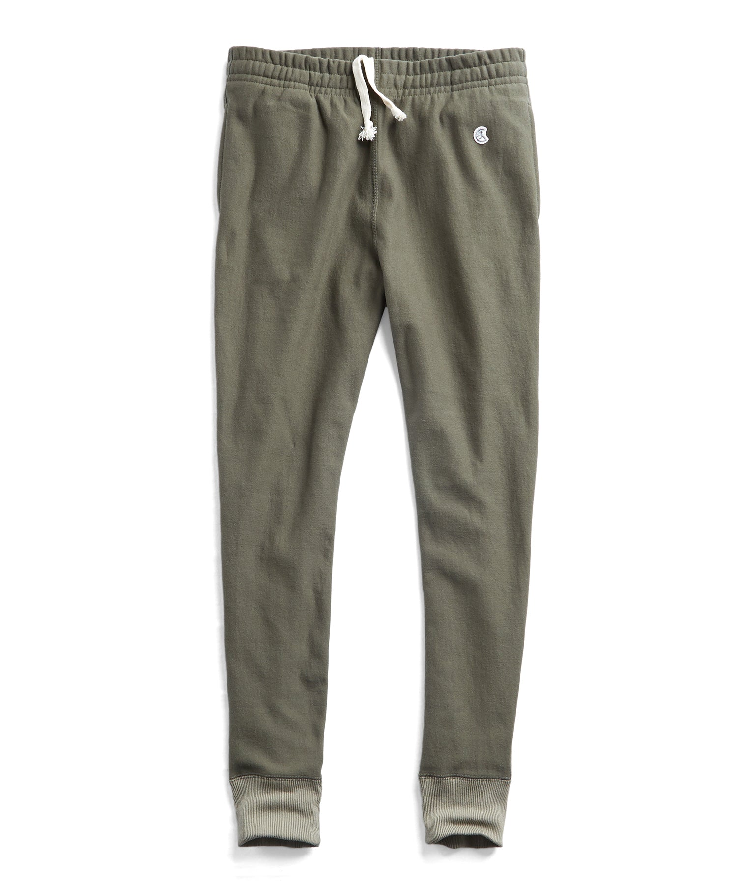 Reverse Weave Slim Sweatpant With Rib Contrast in Olive