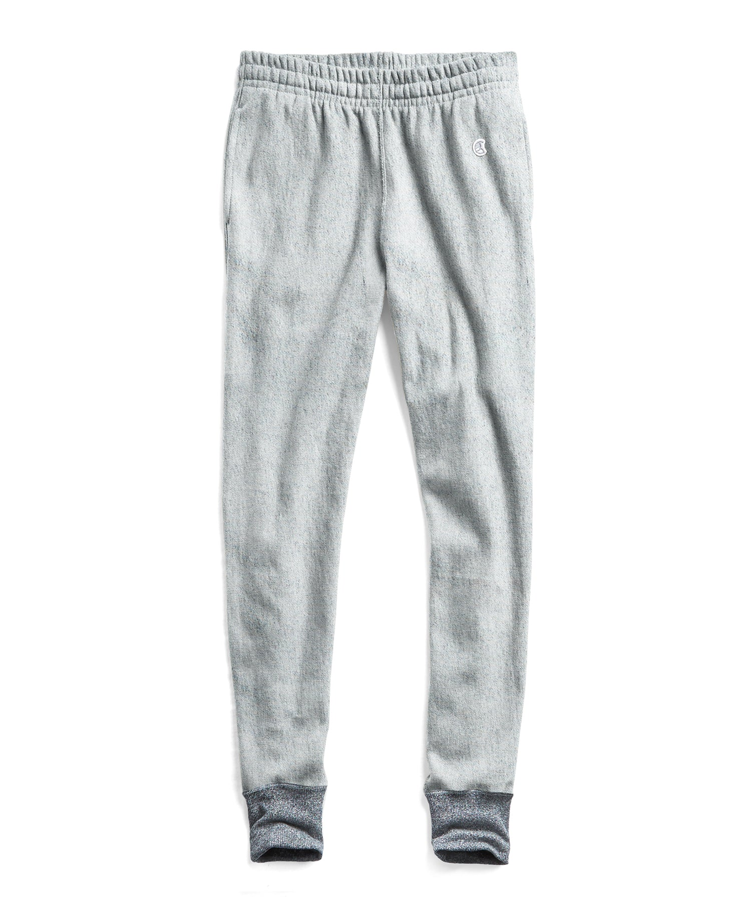 Reverse Weave Slim Sweatpant With Rib Contrast in Light Grey Mix