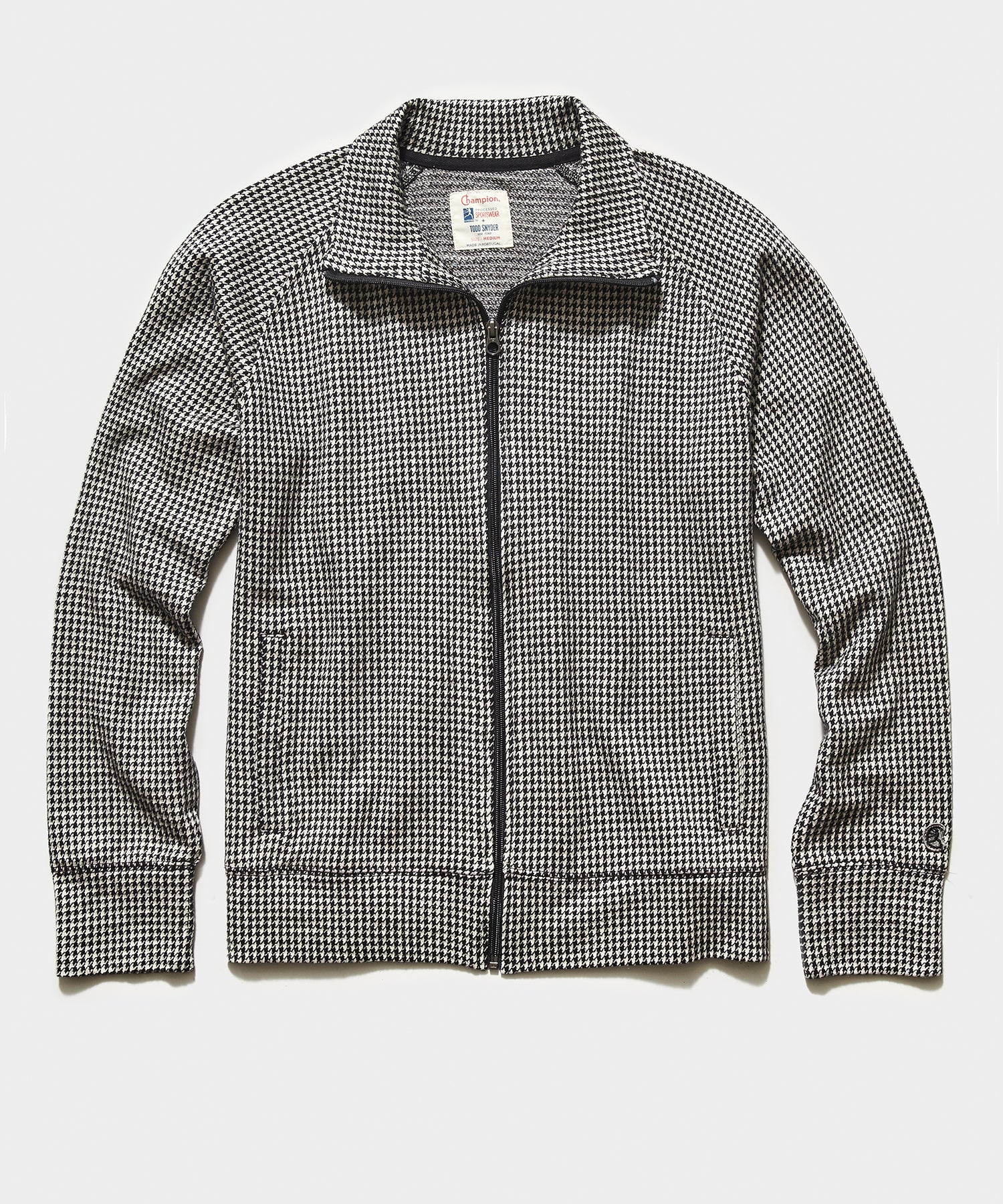 Champion Wool Houndstooth  Full Zip Track Jacket in Black
