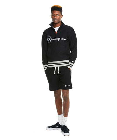 Champion Script Half Zip in Black