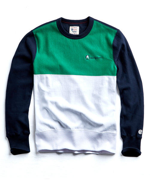 Champion Colorblock Crewneck in Navy/Green
