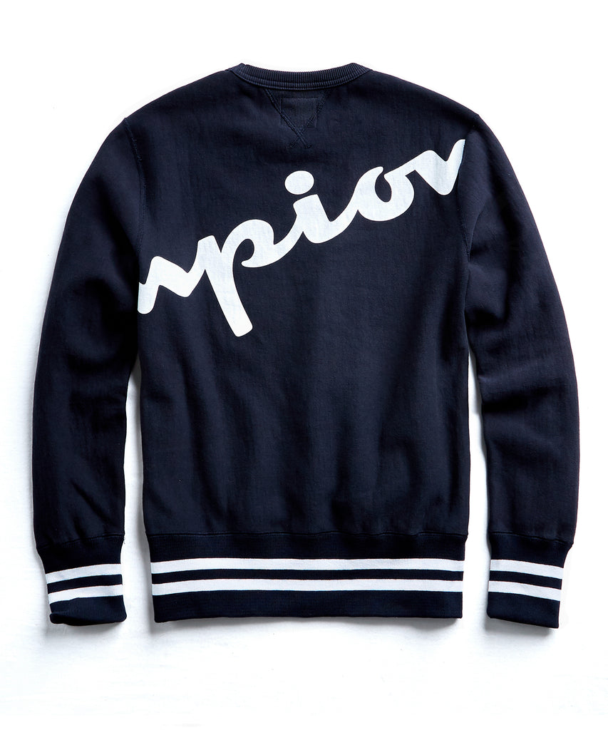 Champion Oversized Script Crewneck Sweatshirt in Navy