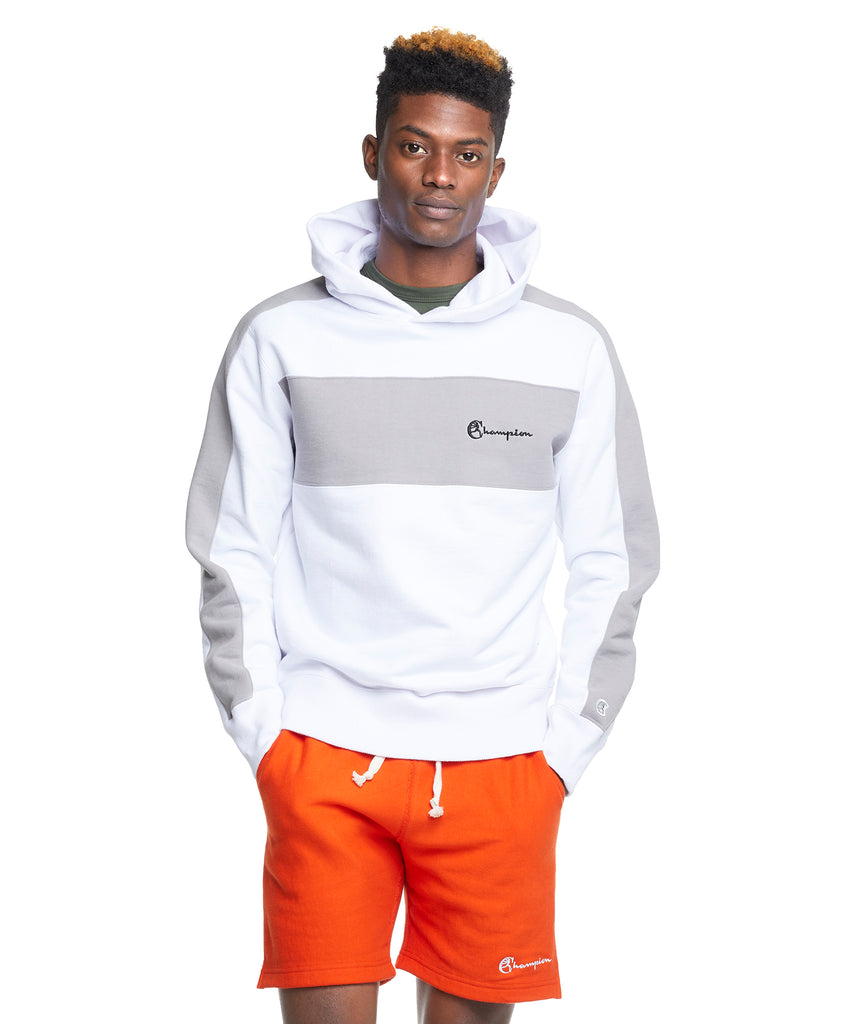Popover Hoodie with Chest Stripe in White