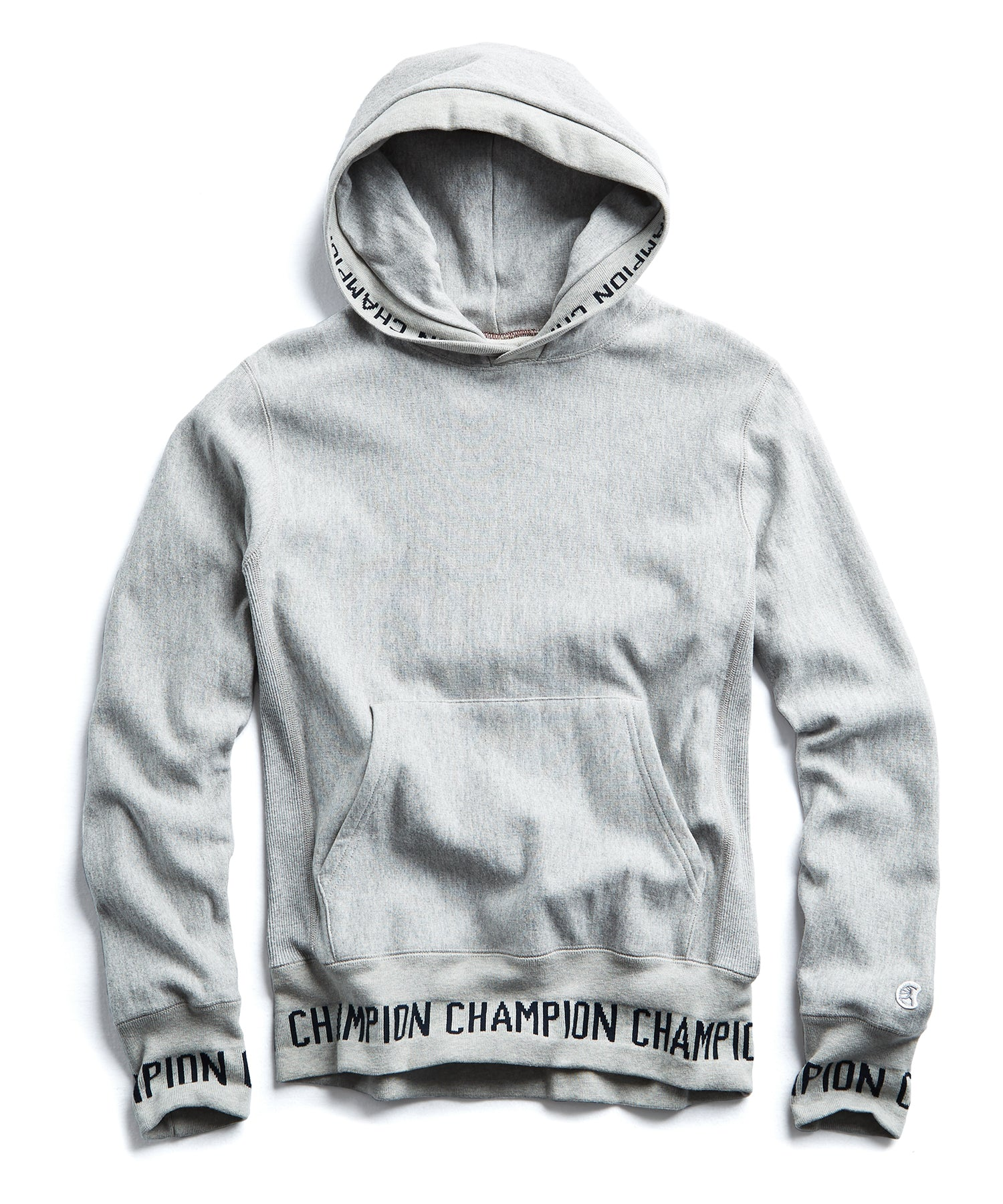 Logo Rib Popover Hoodie In Light Grey Mix