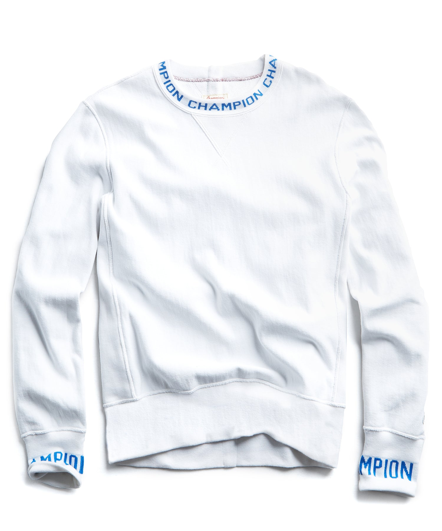Champion Logo Rib Sweatshirt in White