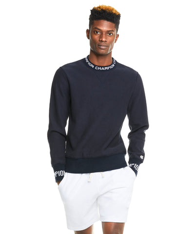 Champion Logo Rib Sweatshirt in Navy