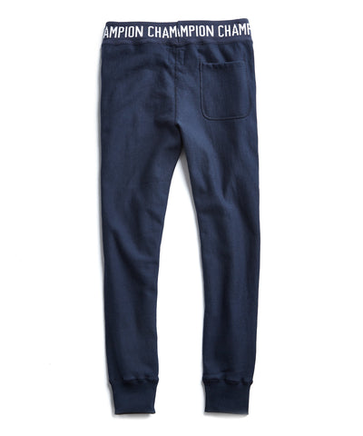 Champion Logo Rib Slim Jogger Sweatpants in Navy