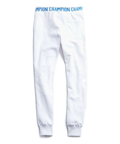 Champion Logo Rib Slim Jogger Sweatpants in White