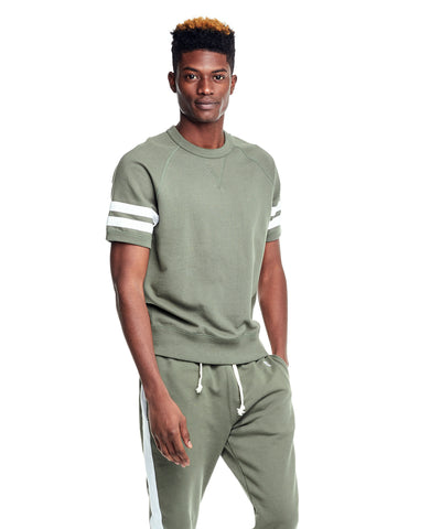 Double Stripe Short Sleeve Sweatshirt in Olive Grove