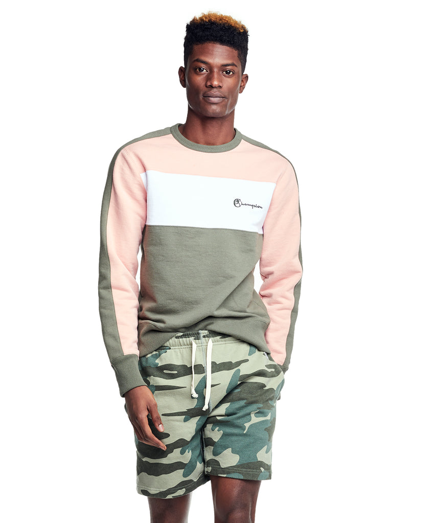 Pieced Crewneck Sweatshirt in Olive and Pink