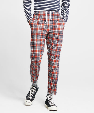 Champion Wool Orange Plaid Pintuck Track Pant