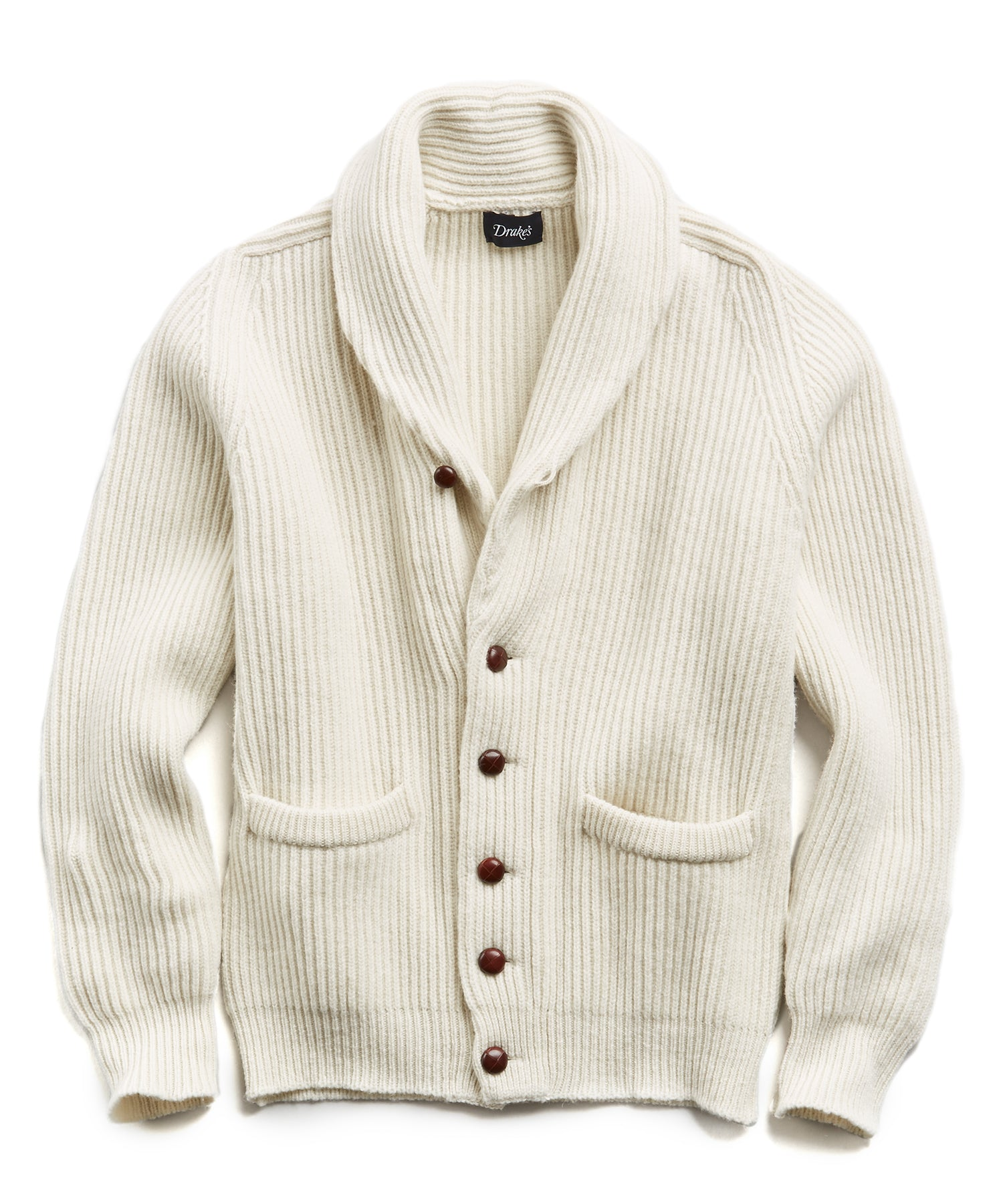 Lambswool Shawl Collar Cardigan in Cream
