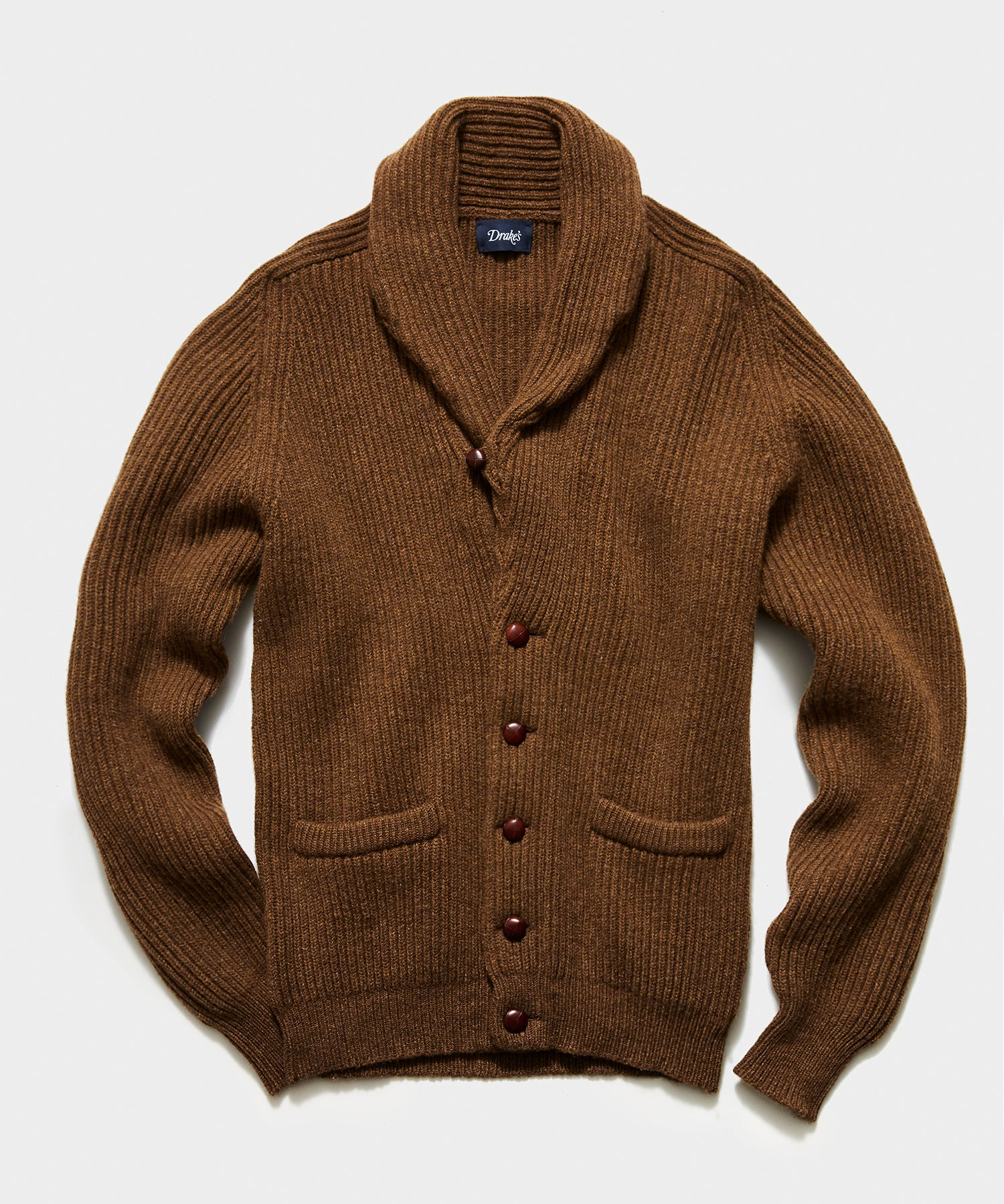 TS x Drake's Lambswool Shawl Collar Cardigan in Brown