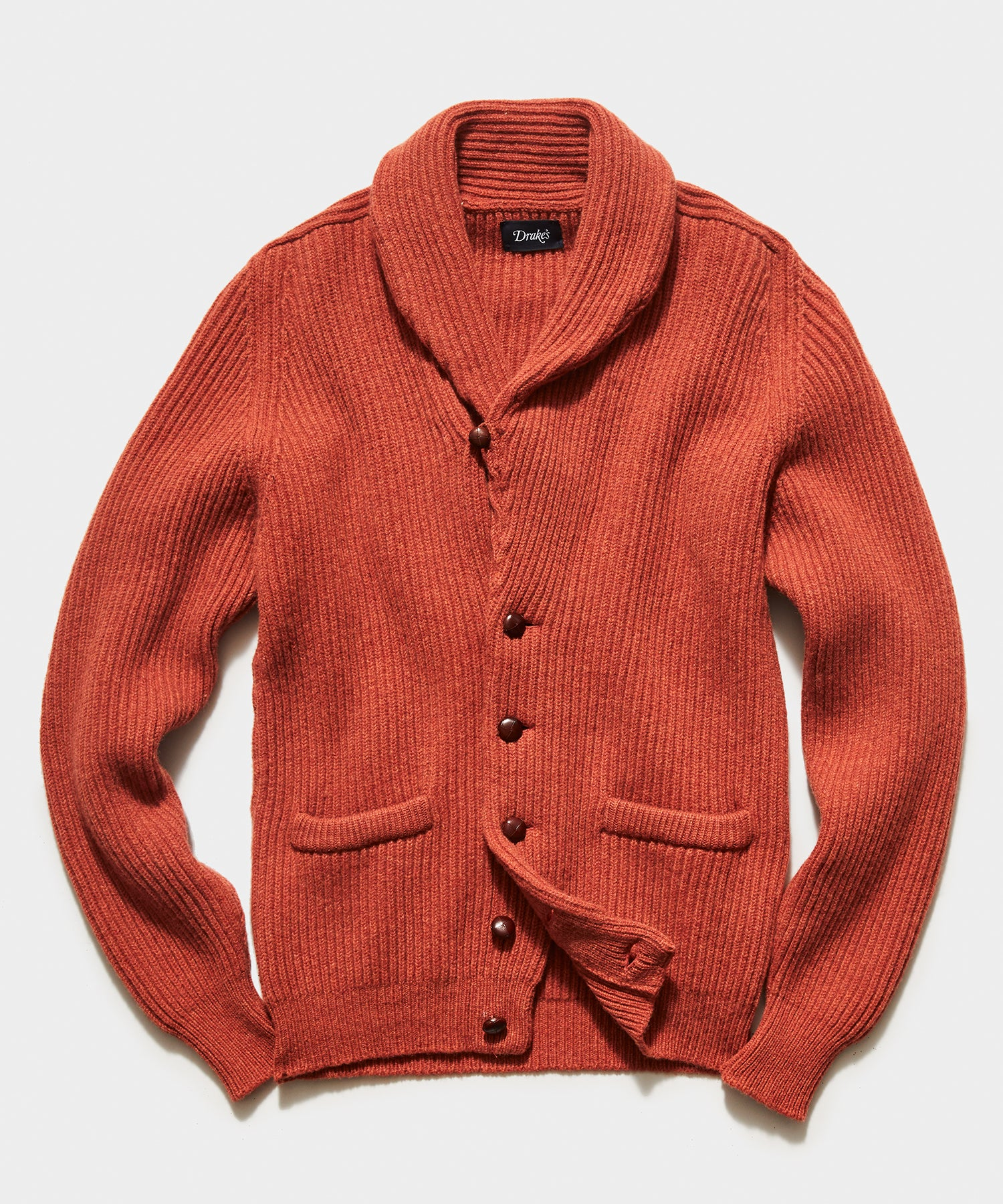 TS x Drake's Lambswool Shawl Collar Cardigan in Orange