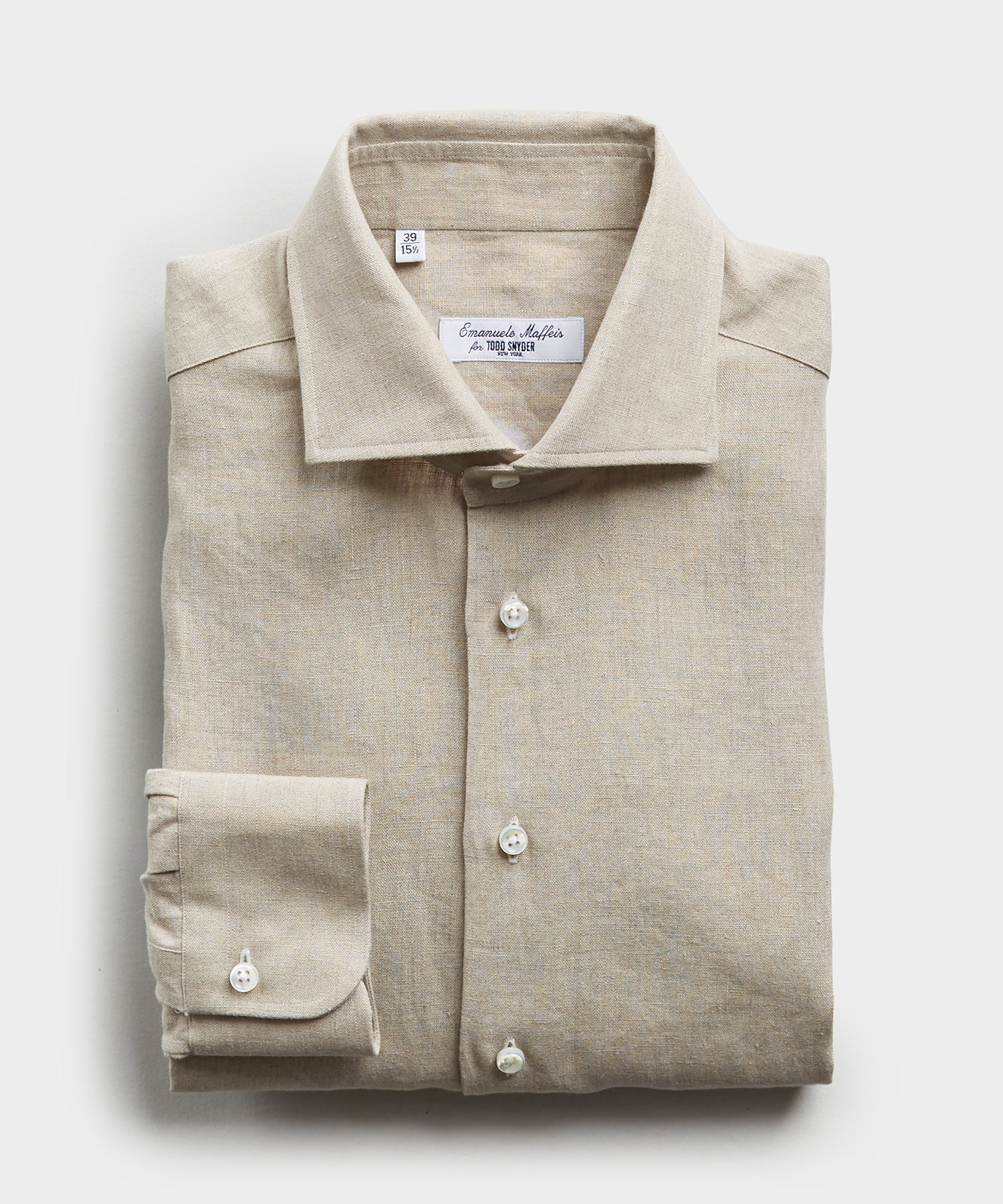 Camiceria E. Maffeis Organic Solid Cotton/Linen Dress Shirt in Beige
