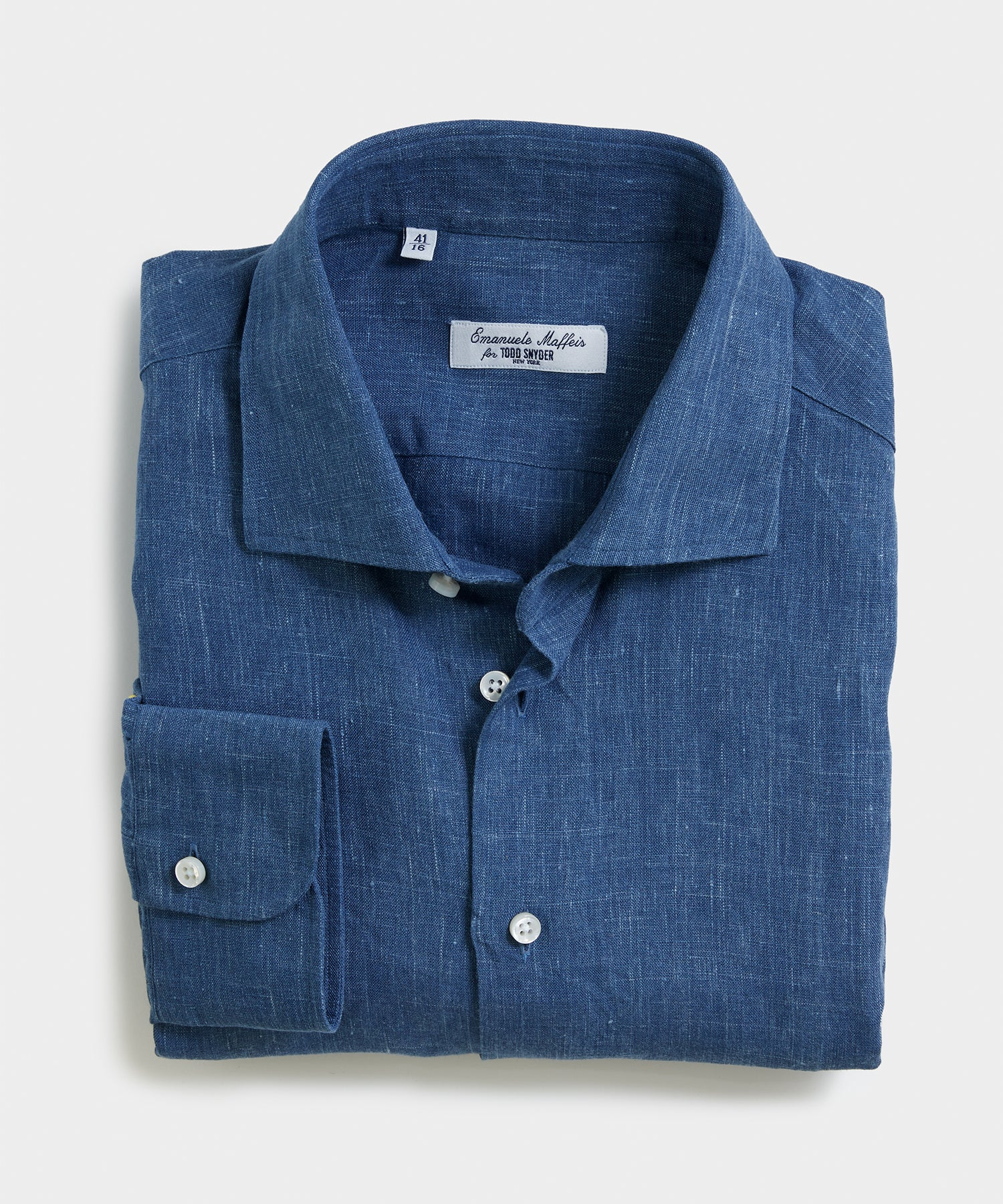 Camiceria E. Maffeis Organic Solid Cotton/Linen Dress Shirt in Navy