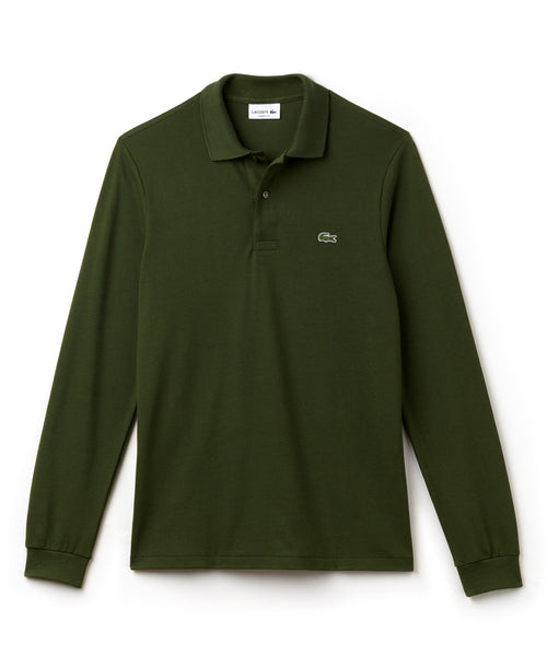 LACOSTE LONG SLEEVE CLASSIC FIT POLO in Olive