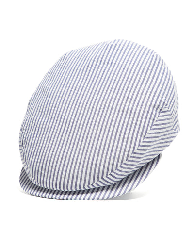 Lock and Co Seersucker Drifter Cotton Flat Cap
