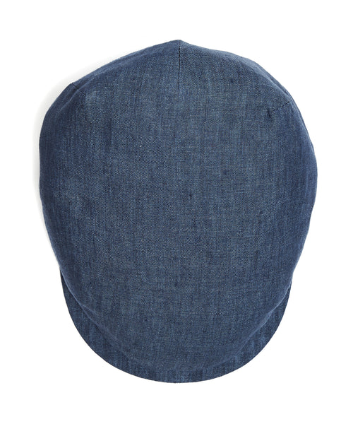 Lock and Co Linen Drifter Flat Cap In Navy