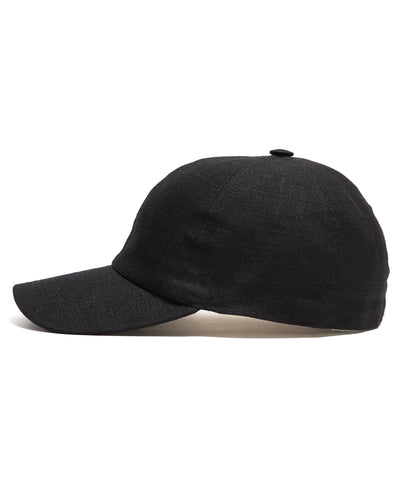 Lock and Co Rimini Baseball Cap In Black Linen